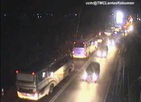 Pantauan arus lalin di CCTV perlintasan KA Karanganyar imbas dari TRuk Tronton Mogok di jembatan Karanganyar